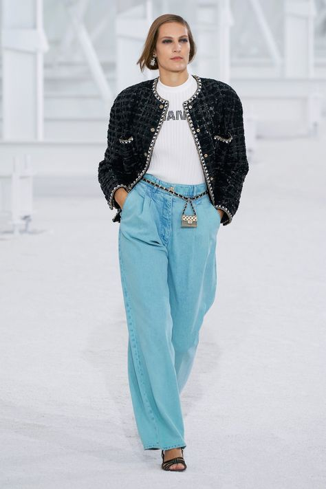 Jeans: remember them? Trackies usurped denim as the world ground to a halt last year, but big-name brands are putting new-look 501s firmly back on the agenda for spring/summer 2021. Indeed, these loud colour-pop, patchwork iterations are hard to ignore. When Chanel sends a pair of wide-leg, Barbie-pink jeans down the runway, people take note. Ditto, sky-blue denim.