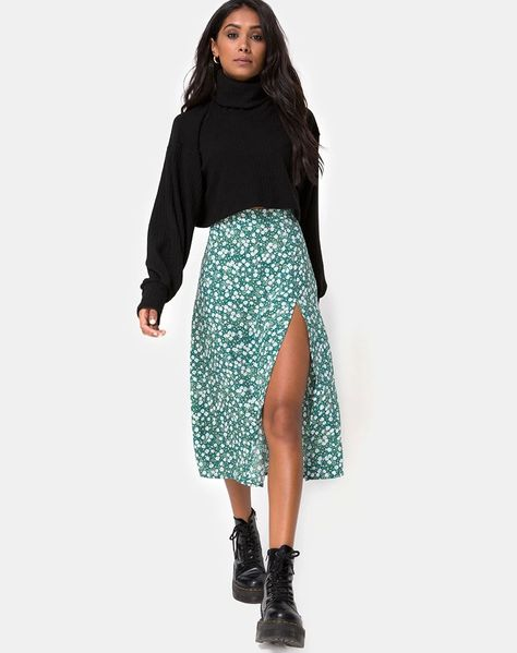 Boho Outfits, Floral Skirt Outfits, Cute Spring Outfits, Spring Fashion Outfits, Casual Skirt Outfits, Outfit Jeans, Look Fashion, Long Skirt Outfits For Summer, Skirts In The Winter