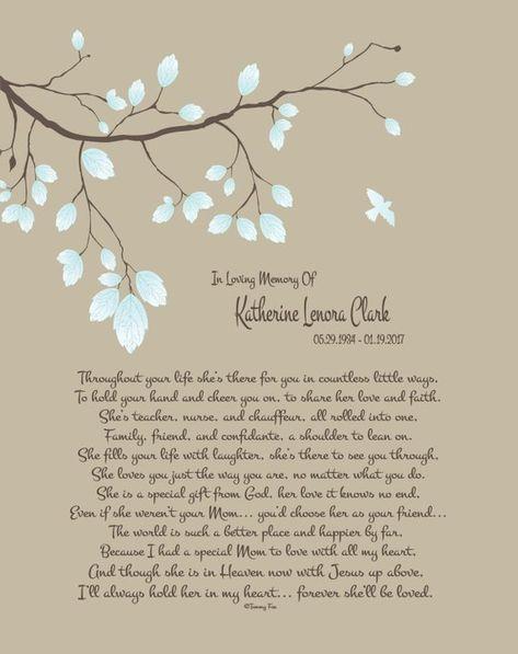 Mom Memorial Print-In Memory of Mother-Loss of Mother-In Remembrance of Mom-Mother in Heaven-Through
