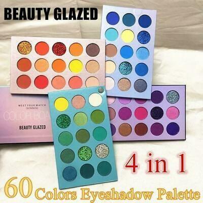 60 Colors Beauty Glazed 4 In 1 Color Board Eyeshadow Palette Lasting Long G0q3 In 2020 Beauty Glazed Eyeshadow Glitter Eyeshadow Palette