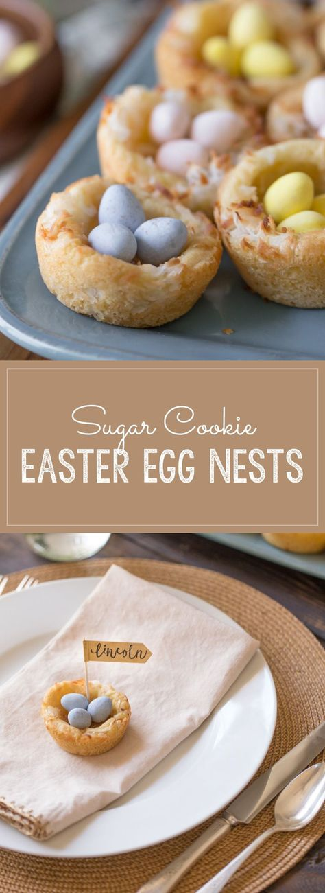 These sweet little Sugar Cookie Easter Egg Nests are perfect for dessert or to decorate your Easter table as a place card holder! #sugarcookienests #Easterdessert #placecardholder #sugarcookies