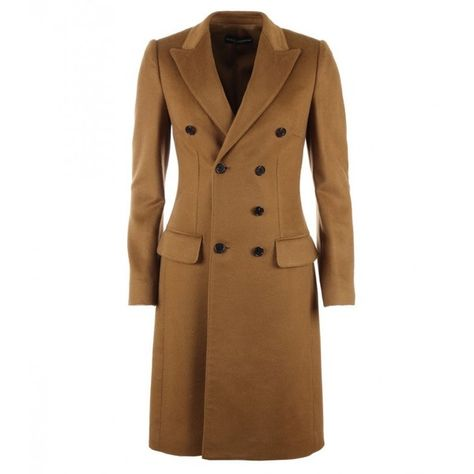 25d758a2dfa Dolce & Gabbana Brown Cashmere Double Breasted Coat (255.635 RUB) ❤ liked  on Polyvore featuring outerwear, coats, double-breasted coat, long sleeve  coat, ...