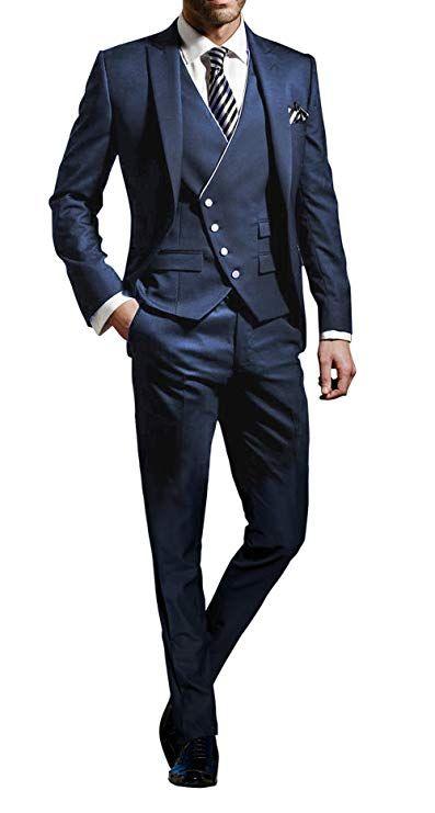 YSMO M/änner Slim Fit Anz/üge Weste Business Tuxedo Dreiteilige Jacke Hosen Weste Set