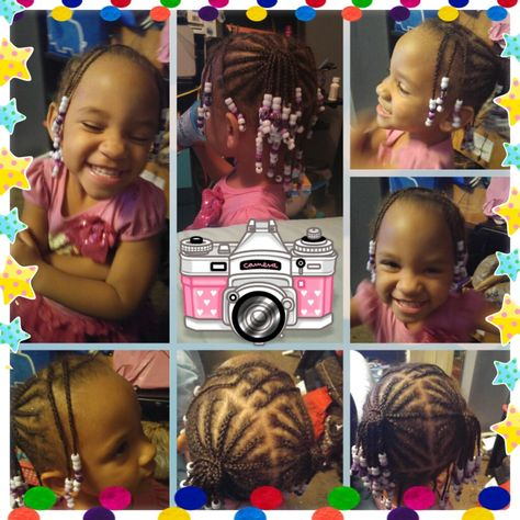 Criss Cross Bang With Pig Tails And Back Down Cornrows I Did On My Daughter Lauren