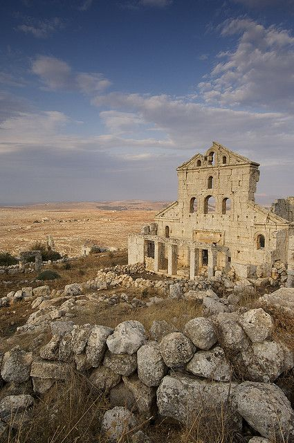 The Dead Cities in Syria: Ancient Byzantine ruins tell of prosperous communities that were abandoned. Soil erosion ended the fertility of the area that supported a large population. This site is near Aleppo, Syria. by JC Richardson