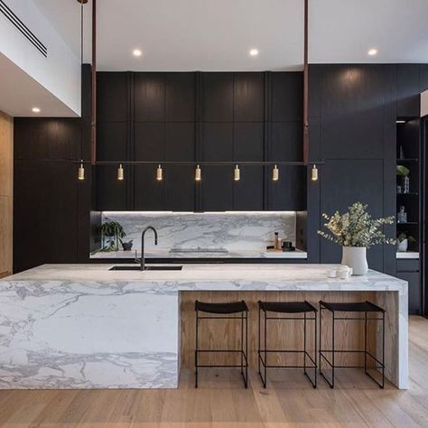 Minimalist Black Wood And Bold Marble Kitchen Minimalist Kitchen Design Modern Kitchen Interiors Modern Kitchen Design