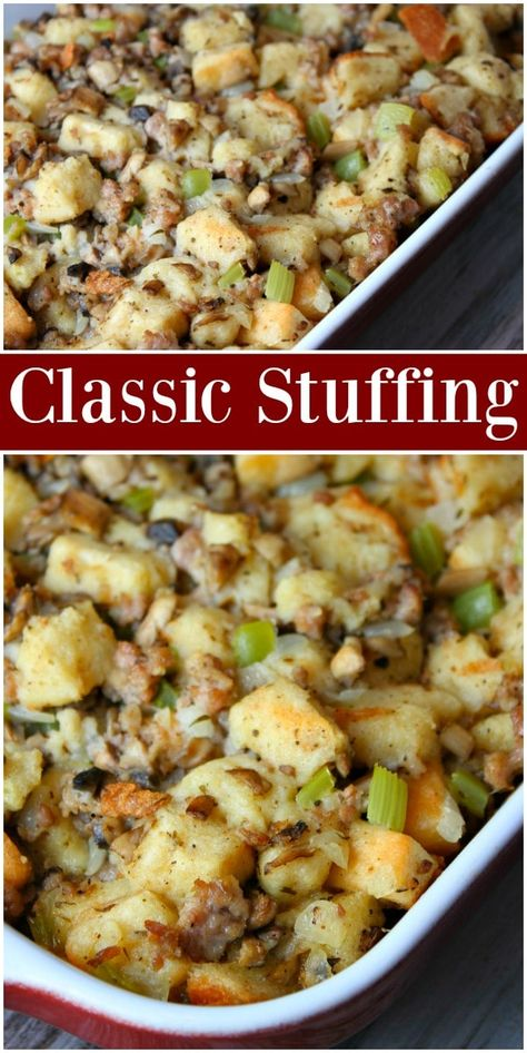 Enjoy this classic and easy Thanksgiving Stuffing Recipe alongside your roasted turkey! Filled with seasoned bread, onions, celery and mushrooms, this stuffing is the perfect addition to your holiday dinner table! Stuffing Recipes For Thanksgiving, Thanksgiving Sides, Christmas Stuffing, Holiday Recipes, Thanksgiving Appetizers, Thanksgiving Decorations, Classic Stuffing Recipe, Classic Recipe, Mrs Cubbisons Stuffing Recipe