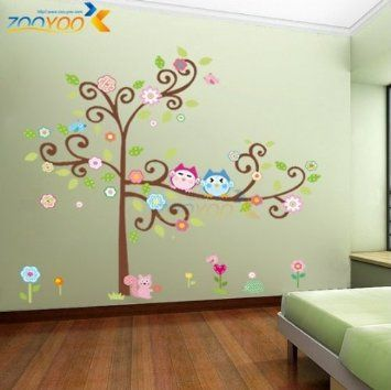 Amazon.com: Toprate (TM) Large 59''x57'' Colorful Owl Big Tree Animal Garden Wall Stickers Removable Wall Decal Sticker,Super for Girls and ...