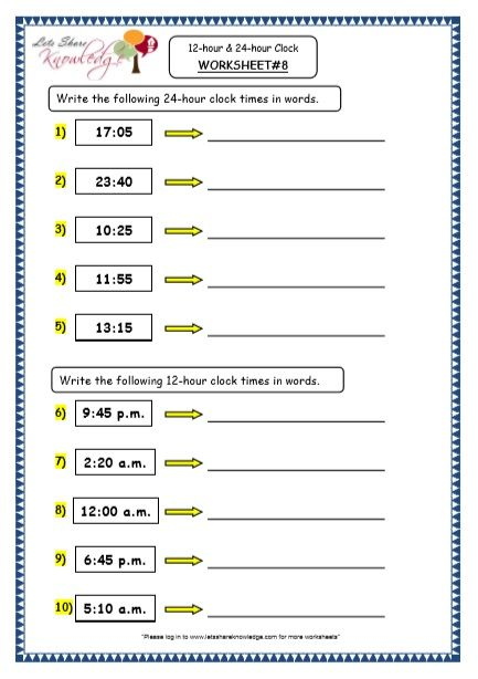 Grade 4 Maths Resources 7 1 Time 12 Hour 24 Hour Clock Printable Worksheets Le 4th Grade Math 10th Grade Math Worksheets Free Printable Math Worksheets Free printable worksheets for grade 4