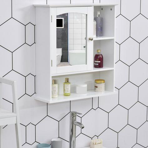kleankin Bathroom Cabinet Wall Mount Storage Organizer with Mirror Adjustable Shelf Wood Medicine Cabinet White
