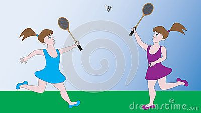 Two Girls Compete In A Sports Game Badminton Girls Game Sport Badminton
