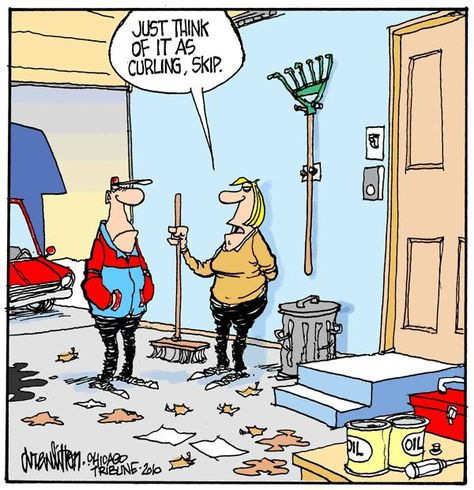 I Think We Have A New Olympic Sport On Our Hands Garage Curling Funny Picture Jokes Sports Joke Curling Sports