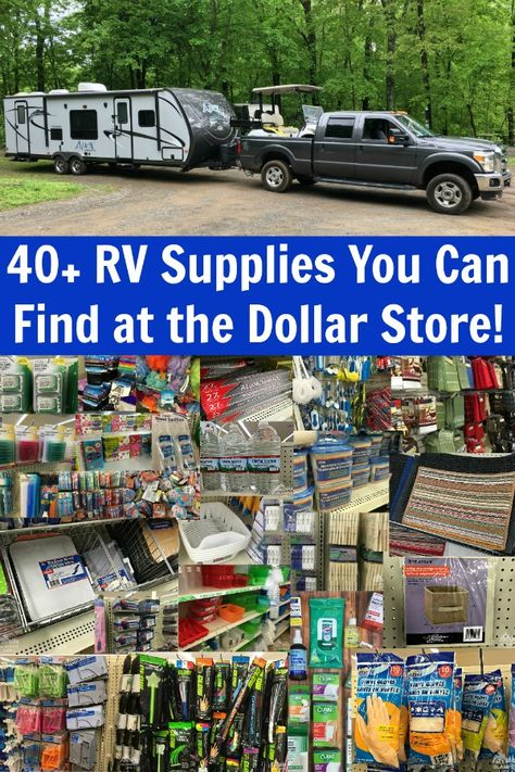 Essential RV Dollar Store Supplies for Your Camper! Did you know that you can find MANY essential RV supplies at the dollar store? The dollar store has LOTS of great camping gear and RV gear and you can stock your camper for less by using our Camping Survival, Tree Camping, Rv Camping Checklist, Rv Camping Tips, Travel Trailer Camping, Camping Supplies, Camping Ideas, Camping Essentials, Travel Trailer Decor
