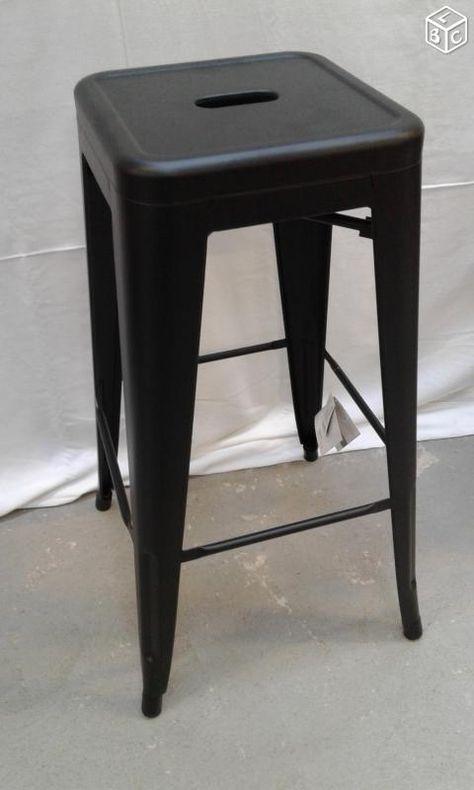 Chaise Et Tabouret Metal Noir Style Tolix