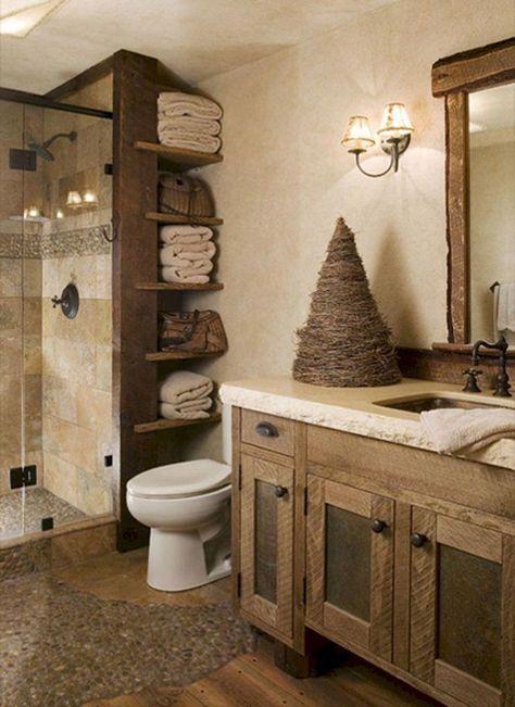 Rustic Small Bathroom Vanities Rustic Bathroom Ideas Photo Gallery It looks great like? You think your teen girl is gonna like it? Bathroom Vanity Storage, Small Bathroom, Bathroom Shower Tile, Bathrooms Remodel, Cabin Bathrooms, Small Bathroom Vanities, Bathroom Mirror, Tile Bathroom, Rustic Bathrooms