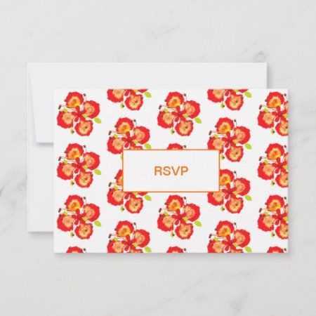 Barbados Pride Flowers Wedding Destination RSVP Card - tap/click to personalize and buy #RSVPCard  #beach #destination #weddings #abroad #elegant
