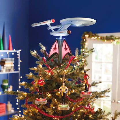 Star Trek U S S Enterprise Musical Tree Topper With Light In 2020 Tree Toppers Holiday Christmas Tree Plastic Christmas Tree