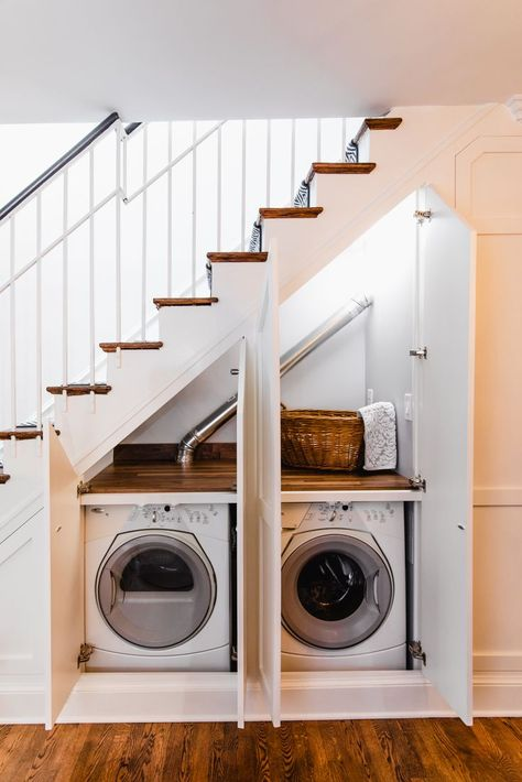 Checkout These Understairs Creative And Practical Space Ideas. Here are ideas for space under stairs. A hidden laundry. The DIY creating a walk in pantry with extra shelves for better organization. Or an extra closet for the spare bathroom. Staircase Storage, Staircase Design, Storage Under Stairs, Stair Design, Hall Storage Ideas, Organization Ideas, Cabinet Under Stairs, Attic Storage, Closet Storage
