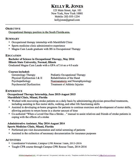 Occupational Therapy Resume Templates - http\/\/resumesdesign - resume 101