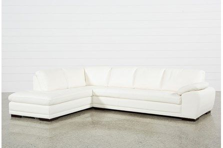 Vaughn Ii Alabaster 2 Piece Sectional W Laf Chaise Leather
