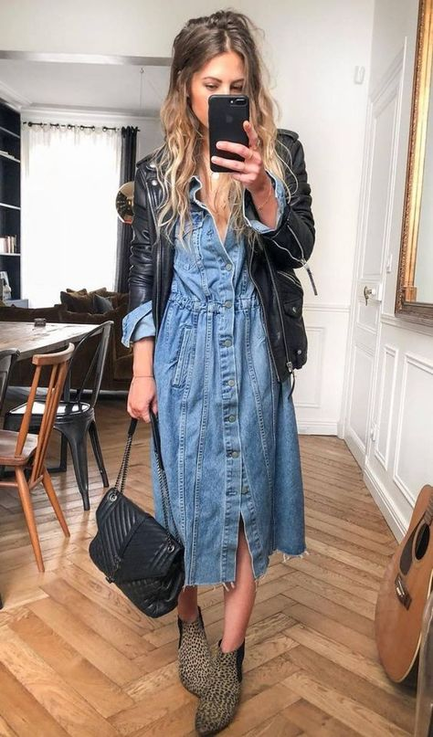 30 Comfy Winter Outfits You'll Want to Wear Them how to wear with a denim dress : biker jacket bag boots Early Fall Outfits, Cute Fall Outfits, Casual Outfits, Casual Bags, Summer Outfits, Autumn Outfits, Dress Casual, Summer Clothes, Mode Outfits