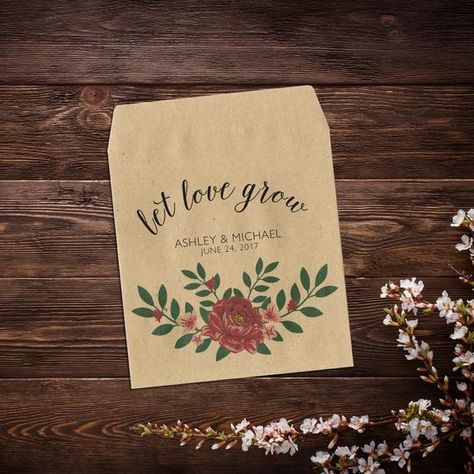 Wedding Seed Packets, Let Love Grow, Red Peony #seedpackets #weddingfavors #weddingseedfavor #letlovegrow #weddingseedpackets #rusticwedding #plantfavor #peonypink #seedpacketfavors #personalizedfavor #seedpacketfavor #customseedpacket #flowerseedpackets