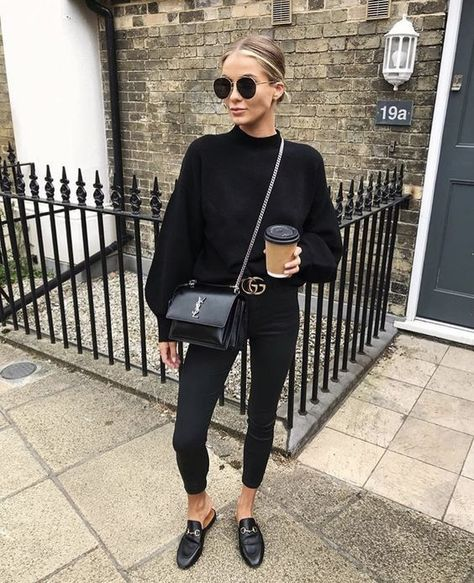 Mode femme : style tout en noir avec un pantalon noir, pull noir, mules noires Gucci et sac Ysl noir How many times do you wake up in the morning and want to do something different with your hair?