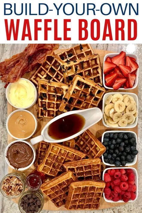 Picnic Ideas Discover Build-Your-Own Waffle Board A Build-Your-Own Waffle Board with all the toppings to choose from is a fabulous and fun way to serve breakfast brunch or brinner! Breakfast Platter, Breakfast Recipes, Cute Breakfast Ideas, Breakfast Buffet, Breakfast Options, Charcuterie And Cheese Board, Meat Cheese Platters, Charcuterie Recipes, Charcuterie Platter