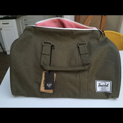 """Herschel Novel Duffel in army green Brand new Herschel duffel with the tags still on! Never used before, great for weekend trips or carry on luggage. (Dimensions: 42.5Liter, 11.5""""H, 20.5""""W) Herschel Supply Company Bags Travel Bags"""