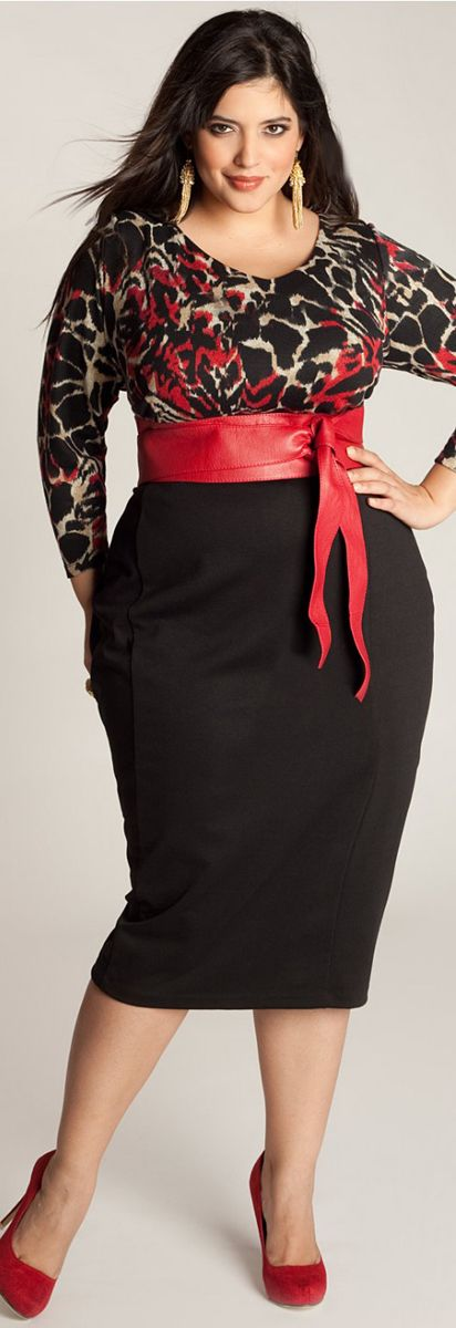 Red white and black dresses plus size