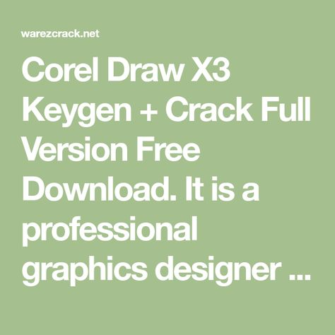 corel draw x3 full crack rar