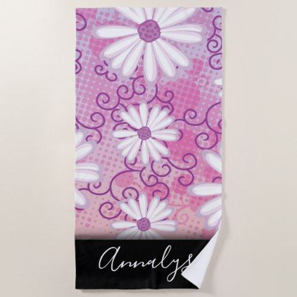 Pink Purple White Girly Daisy Flowers Polka Dots Beach Towel
