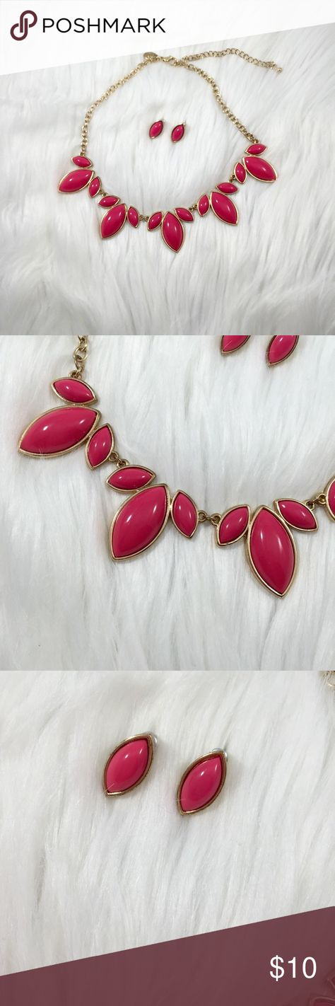 Pink Statement Necklace And Earrings Set Super cute and in great condition pink tear drop earrings with matching statement necklace Charming Charlie Jewelry Necklaces