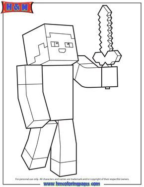 Minecraft Person Holding Sword Coloring Page Minecraft Coloring