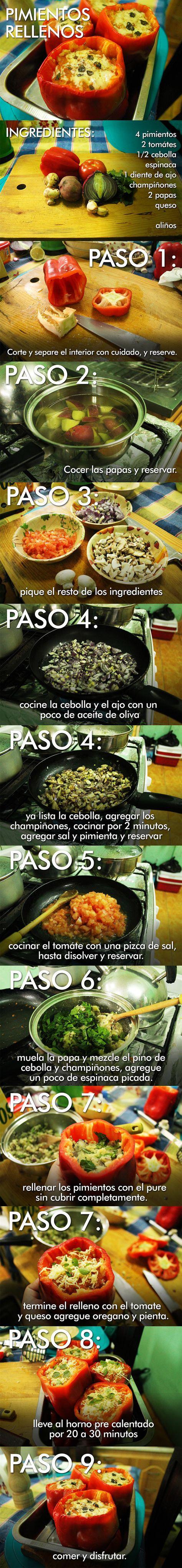 Pimientos Rellenos al horno. receta vegetariana.