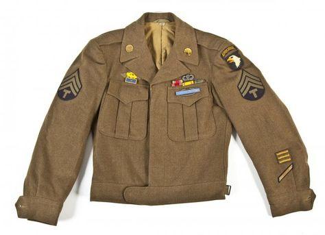 jackets from world war II   188: World War II 101st Airborne Ike Jacket : Lot 188