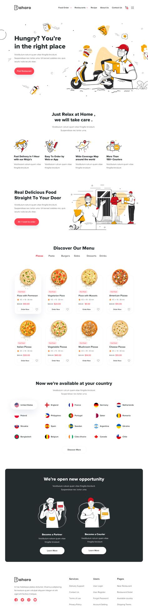 Daharo Landing Page - Food Delivery