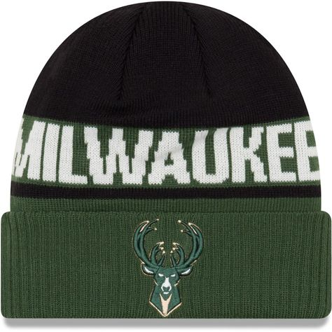 c799c4ff818 Youth Milwaukee Bucks New Era Hunter Green Chilled Cuffed Knit Hat ...