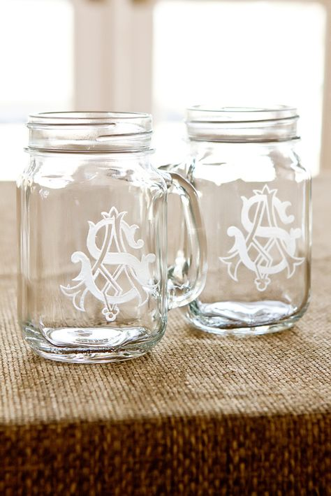 monogram mason jars #wedding