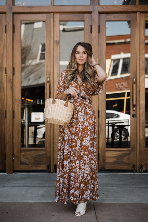 6d722a9c3acf Floral Maxi Dress and Small Wicker Basket for Spring  springstyle  Spring   basketbag  styleblogger  TTD