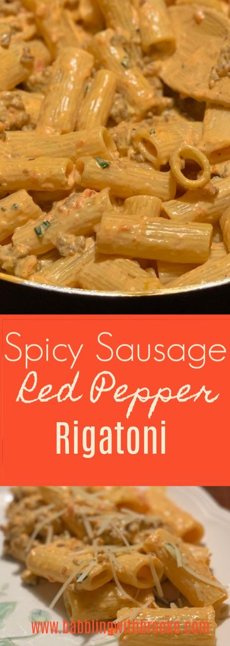 The spicy sausage red pepper rigatoni is super easy to make and absolutely delicious! My family couldn't stop eating this delicious pasta recipe!