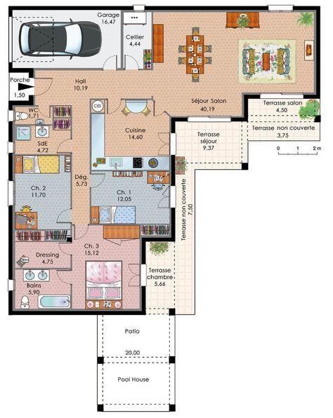 Cette maison contemporaine EKLA de 104 m2 habitables, de plain pied - plan maison plain pied  chambres  bureau