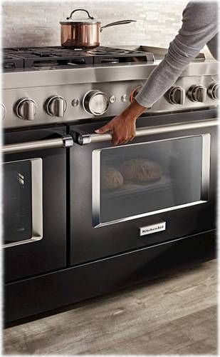 Kitchenaid Commercial Style 6 3 Cu Ft Freestanding Double Oven Dual Fuel True Convection Range With Self Cleaning Imperial Black Kfdc558jbk In 2020 Double Oven Convection Range Freestanding Double Oven