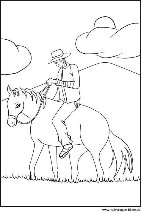 ausmalbilder pferde western  cowboy ausmalbilder
