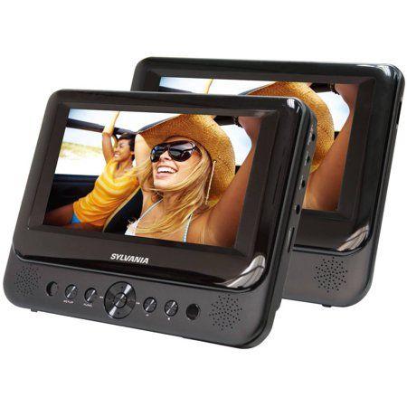 Sylvania 7 Inch Dual Screen Portable Dvd Player Black Tv Videos
