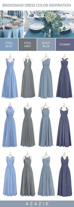 Blue Bridesmaid Dresses in color mix-matches: Dusty Blue,  Stormy, Steel Grey, Steel Blue. #wedding #weddinginspiration #bridesmaids #bridesmaiddress #bridalparty #maidofhonor #weddingideas #weddingcolors #azazie