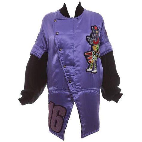 Preowned Kansai Yamamoto Purple Satin Jacket With Appliquéd