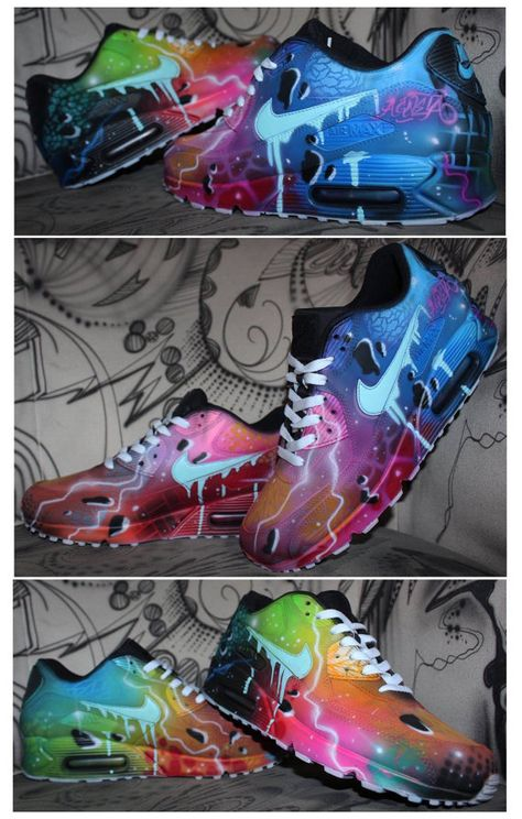 new concept 1d06e 7849d Nike Air Max 90 Blue Galaxy Style Painted by DacCrewAirbrush