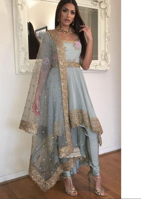 Indian bollywood Bambi Bains dusty Blue georgette suit with heavy embroidered duppatta or scarf Indian Bridesmaid Dresses, Indian Gowns Dresses, Pakistani Dresses, Dresses Dresses, Afghan Dresses, Pakistani Wedding Outfits, Pakistani Bridal Wear, Bridal Outfits, Punjabi Wedding Suit