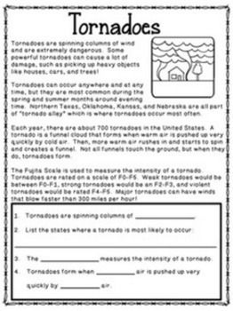 Natural Disasters Science Unit Reading Passages And Activities Reading Passages Science Units Natural Disasters